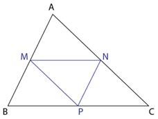 Triunghi oarecare ABC cu linii mijlocii